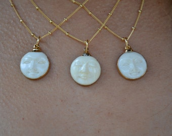 MAN In The MOON Necklace /// Moon Face Necklace