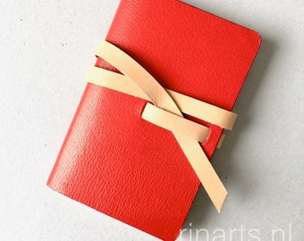 Leather notebook / leather journal / leather travel notebook / leather sketch book in red leather. Personalised gift