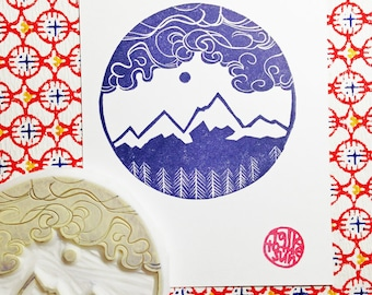 winter alps mountain rubber stamp | woodland stamp | diy christmas birthday wedding scrapbooking | hand carved by talktothesun. large