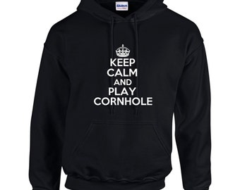 Keep Calm And Play Cornhole Mens Hoodie  Funny Humor