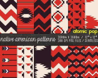 Instant Download // Native American Geometric Patterns Digital Paper Pack // Seamless Patterns and JPGS // Digital Decoupage Collage Sheets
