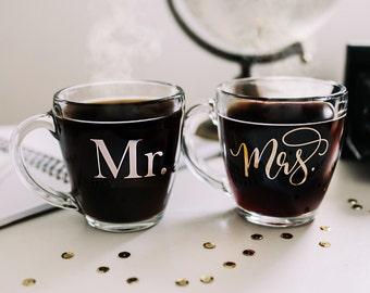 Mr and Mrs Mug set, gold foil mug glass mug coffee mug Mr. and Mrs. Coffee Mug Printable Wisdom wedding gift, newlywed gift shower gift