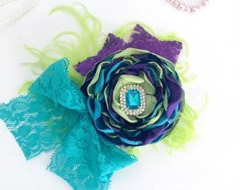 Girls Flower Headband - OTT Hair Bow - Purple Baby Bow - Hair Bow for Girls - Girls Birthday Bow - Girl Baby Shower - Newborn Photo Prop
