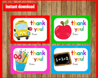 Teacher Appreciation Gift Tag instant download, Printable Thank you  Teacher Appreciation cards , Teacher Appreciation printable gift tags