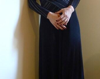 SALE! 50% off Vintage Drape Front Black & Silver Evening Dress approx 38 Euro  M  8-10 USA