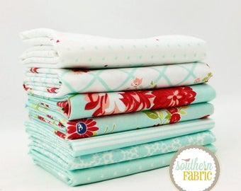 """The Good Life - Aqua - Fat Quarter Bundle - 7 - 18""""x21"""" Cuts - Bonnie and Camille - Moda Quilt Fabric"""