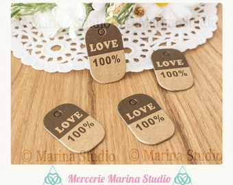 10 small kraft tags tags love 100% 3x2cm