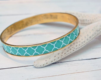 Women's Preppy Bangle Bracelet - Green Lattice