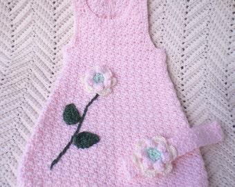 Crochet Newborn Sundress Pink w Headband Baby Girl 0 3 mo w Headband