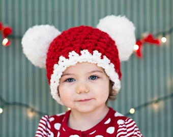 Christmas Toddler Hat 1T - 2T Toddler Girl Hat Toddler Boy Hat Christmas Hat Santa Hat Pom Pom Hat Red White Christmas Photo Prop Candy Cane