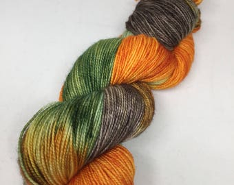 Hand dyed sock yarn fall/Halloween colors, Hand dyed pumpkin colored yarn, Sock yarn hand dyed
