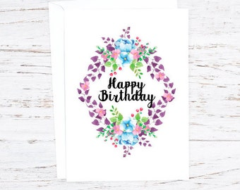 Happy Birthday...  Greetings Card - A6 - Floral - Flowers -  Purple