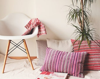 Velvet Farmhouse Pillow, Rustic Decor, Wife Christmas Gift, Colorful Stripe Cushion, Ethnic Throw, Present for Mom, Purple - Red Boho Pillow
