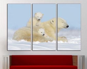 Polar bear print Polar bear canvas Polar bear wall art Polar bear wall decor Animal canvas Animal print Animal wall decor Animal wall art