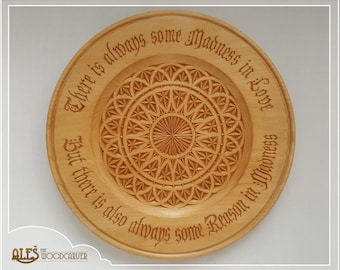 Decorative plate, wood carving - hand carved design and Nietzsche's quote about love, 5th wooden anniversary, gift for wife, wedding gift
