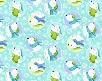 Snow Bears Polar Bears Smiling Flannel Quilt Fabric by the 1/2 yard
