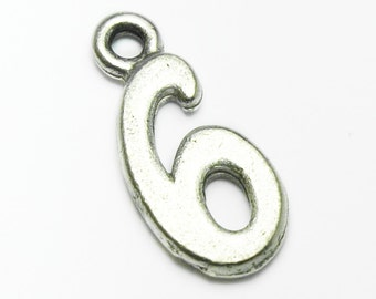 Pewter Number Six '6', Charm, All numbers available 0-9, 10x15mm, Made in USA, #Q112