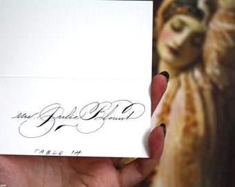 Place Escort Card  Handwritten Calligraphy for weddings or events