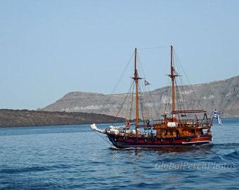 Wooden Sailboat. Santorini. Greek Isles. Wall Art. Vintage