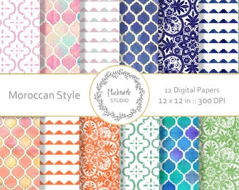 Moroccan digital paper - Moroccan Chic clipart - Scrapbook paper, Moroccan Digital Paper, Moroccan Pattern Digital Paper, Commercial use