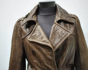 Vintage WOMEN'S LEATHER JACKET , leather blazer ....(014)