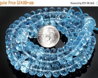 ON SALE Blue Topaz Beads Sky Blue Faceted Rondelles Rondels Roundels Earth Mined Semi Precious Beads - 9mm Rondelles - You Choose Length