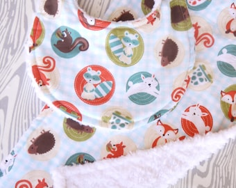Gender Neutral Bib and Burp Cloth - Set of 2 - Gingham Woodland Creatures - Blue, Green, Orange, and Brown