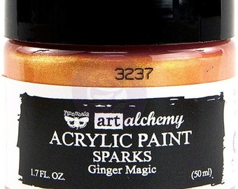 Finnabair Art Alchemy SPARKS Prima Acrylic Paint 1.7 oz  GINGER MAGIC #964108