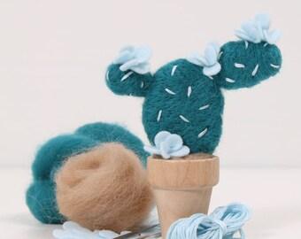 Needle Felting Kit // Prickly Pear // Needle Felting Kit, Cactus Craft, Desert DIY Craft Kit, Roving, Felting Kit, Cacti Kits, Benzie Design