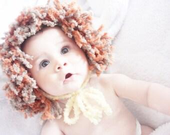 12 to 24m Baby Lion Hat Yellow Orange Brown Baby Lion Hat Crochet Lion Beanie Unisex Baby Girl Boy Lion Bonnet Kid Photo Prop