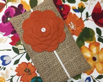 Felt Flower Headband w/ ivory elastic & button