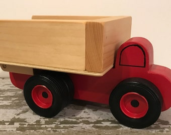 Toy Red Dump Truck with dual rear wheels - Handcrafted Wood Toy Dump Truck Red - Birthday Party Center Piece- Toy Red Dump Truck Party Favor