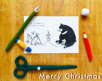Christmas card,Kuro(asian black bear)&Ban(puppy)