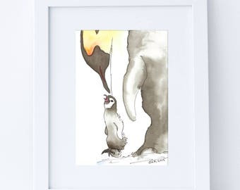 Mother Love Watercolor Painting - 5x7 Print, Watercolor Nursery Art, Penguins, Christmas Gift