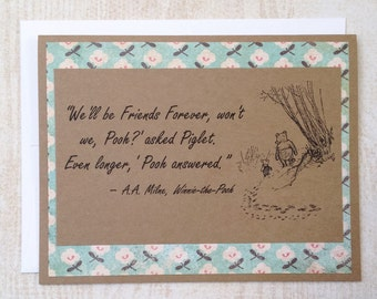Friends Forever - Winnie the Pooh Quote - Classic Piglet and Pooh Note Card Blue Floral Border
