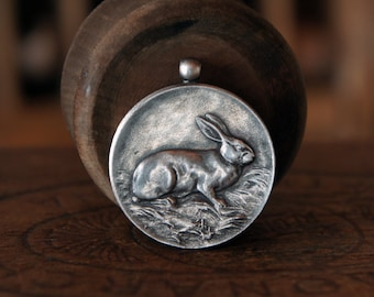 Antique French Solid Silver Rabbit Hare Medal Pendant Good Luck Charm