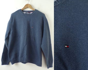 90s Tommy Hilfiger Blue Sweater Mens Large, Crew Neck Sweater, Tommy, Tommy Hilfiger, Blue Sweater, Preppy, Classic, Pullover Sweater, 90s