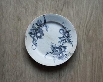 Sale 50% off-antiques-Antique plate ' 800 decoro Monreale-Richard-white ceramics with blue decoration-fruits and leaves