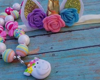 Unicorn necklace, Unicorn birthday, Unicorn bubblegum necklace, unicorn birthday party, Unicorn chunky necklace, Unicorn birthday outfit