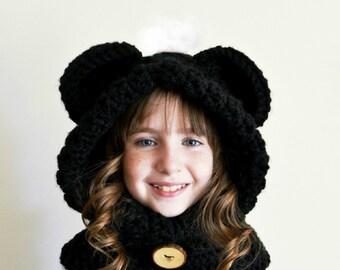 Black Bear Hat - Black Bear Hoodie - Black Bear Cowl - Animal Hat - Hooded Scarf - Crochet Hoodie - Chunky Crochet Hat
