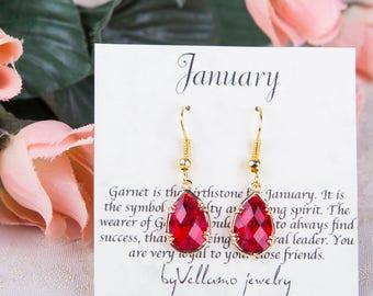 January Red Birthstone, Gold Teardrop Earrings Garnet Drop Gold Earrings January Birthstone Jewelry Bridesmaid Gold Earrings