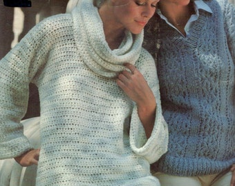 vintage crochet pattern ladies womens cowel neck sweater pullover retro chic 1970 electronic printable pdf download