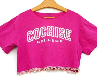 Refashioned Upcycled Cropped Cut Off T-shirt/Cochise College Arizona T-shirt/Boho/Bohemian Chic