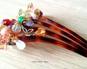 Hair accessories with natural stones