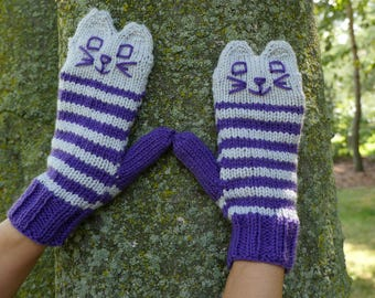 Knit Purple and Grey Cat Mittens - Handmade Knitted Cat Mittens - Vegan Cat Mittens - Hand Knit Animal Mittens - Original Kitten Mittens