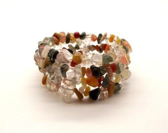 Bracelet - Rocky Road III Colorful Multi-Stone Memory Wire Bracelet