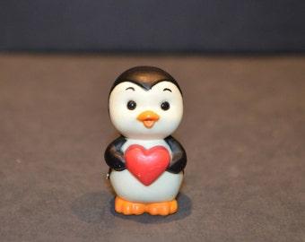 1980's Russ Penguin with Heart Miniature Figure