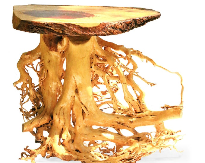 Natural Wood Sofa Table, Farm House Kitchen, Live Edge Slab, Driftwood, Root Tables, Rustic Furniture, Reclaimed Wood, Tree Log Trunk Stump