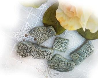 artisan ceramic beads, handmade pottery beads -unique ceramic beads - handmade ceramic bead lot - handcrafted ceramic jewelry beads -- # 106