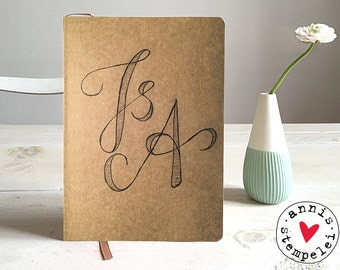 "A5 lined notebook ""initials"","